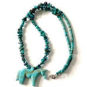 Zuni Fetish HORSE Turquoise Necklace Vintage